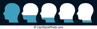 Conceptual illustration of a row of silhouetted male heads showing a decreasing level of memory forgetting curve
