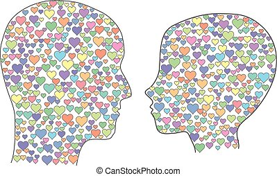 Heads with hearts - Man and woman heads filled with hearts.