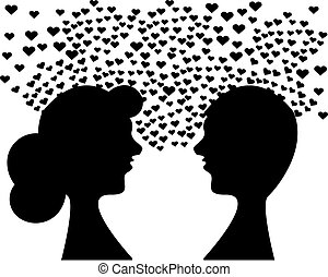 Heads with hearts on white background