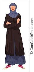 headscarf, femme, long, robe port, femme, musulman, ...