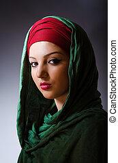 headscarf, kobieta, pojęcie, fason, muslim