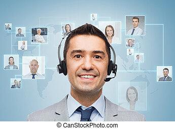 headset , χαμογελαστά , επιχειρηματίας