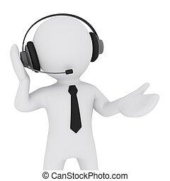 headset, 3d, homem