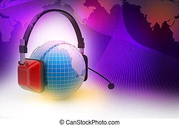 headset, conceito, globe., conversa, online, mundo