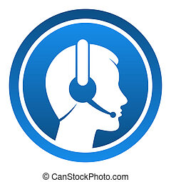 Headset Contact Icon - Blue rounded icon with head and...