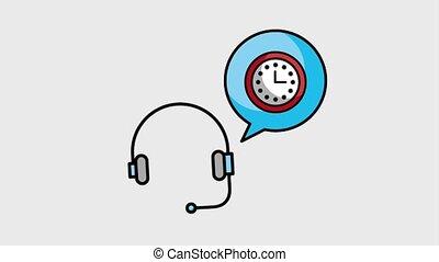 headset customer service - headset speech bubble clock time...