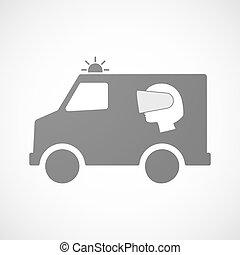headset desgastando, cabeça, furgon, isolado, realidade...