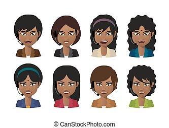 headset desgastando, indianas, avatar, femininas