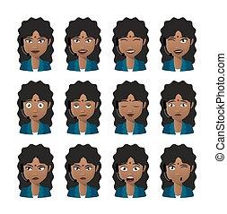 headset desgastando, jogo, indianas, avatar, femininas, expressão