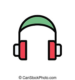 headset flat color icon