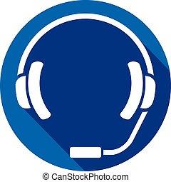 headset flat icon (headphones)