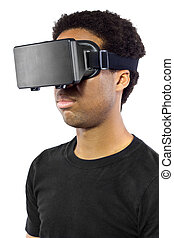 headset, fundo branco, realidade virtual