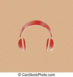 headset, halftone, ícone, -