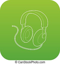 Headset icon green vector