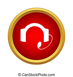 Headset icon in simple style