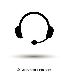 Headset icon. Black background with white. Vector...