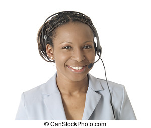 Headset Lady - Women working with a smile, wearing a...