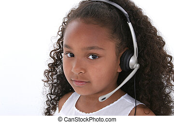 headset, menina, criança