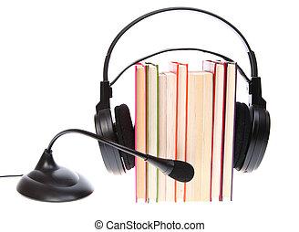headset, microfone, livros, isolado, pilha