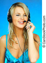 headset, mulher