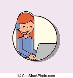 headset, mulher, computador laptop, logistic, operador, caricatura