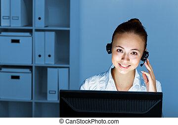 headset, mulher, jovem, desgaste negócio