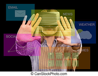 headset, mulher, realidade virtual