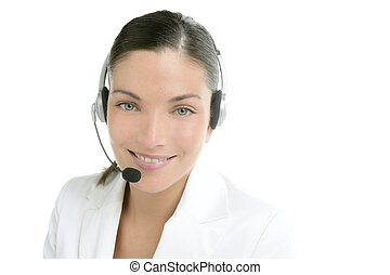Headset phone business woman dress in white