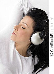 headset portare, angolo, giovane, alto, femmina, vista