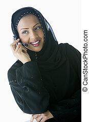 headset portare, donna, key/selective, (high, dentro, focus), sorridente