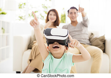 headset, sala, família, vivendo, realidade virtual, feliz