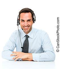 headset, seu, escrivaninha, inclinar-se, retrato, homem sorridente