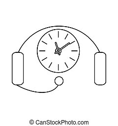 Headset with a clock icon, outline style