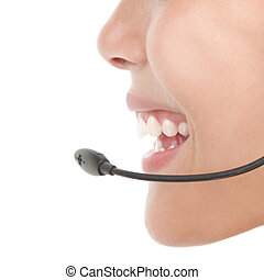 headset woman closeup