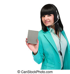 Headset woman from call center standing with signboard