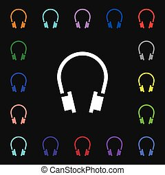 headsets icon sign. Lots of colorful symbols for your design. Vector