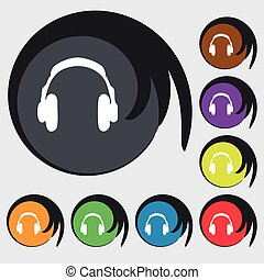 headsets icon sign. Symbol on eight colored buttons. Vector