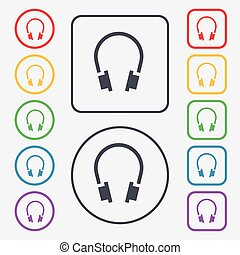 headsets icon sign. symbol on the Round and square buttons with frame. Vector