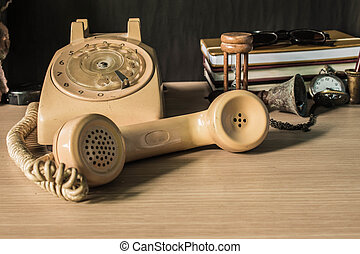 Headsets on the wooden