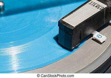 headshell, de, antigas, plataforma giratória, ligado, azul, flexi, disco