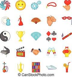 Headship icons set, cartoon style - Headship icons set....