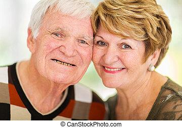 headshot, de, pareja mayor