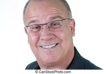Headshot emotional male man senior - Head shot of many with...