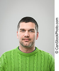 headshot - front view of caucasian man with blank...