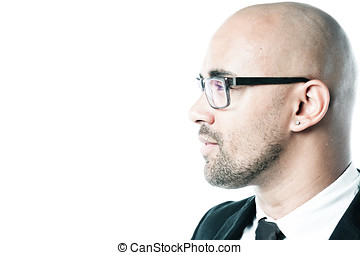 Headshot of a businessman sideview isolated on white