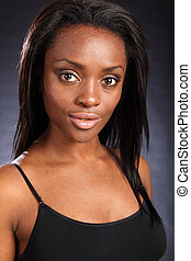 Headshot of beautiful young african black woman