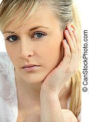 Headshot of blond model
