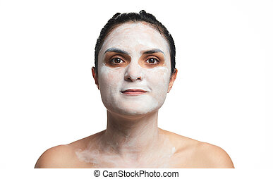 Headshot of woman with cream