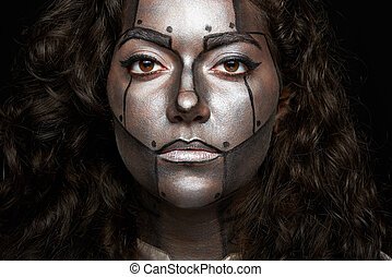 headshot of women with painted face