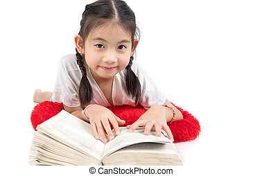 Headshot Portrait of happy cute girl reading a book .